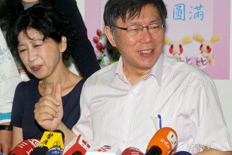 台北市長柯文哲(右)與夫人陳佩琪吵架時,柯P依然有SOP可以處理。(蘇仲泓攝)